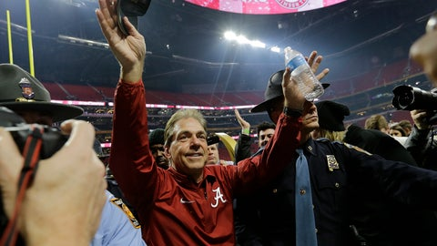 <p>               FILE - In this Jan. 8, 2018, file photo, Alabama head coach Nick Saban celebrates after overtime of the NCAA college football playoff championship game against Georgia, in Atlanta. Alabama already is the first team to win five AP titles in a span of less than 10 years. Winning a sixth against Clemson will left the Crimson Tide even further above other top college football dynasties and into the conversation for best runs in all of college sports. (AP Photo/David J. Phillip, File)             </p>