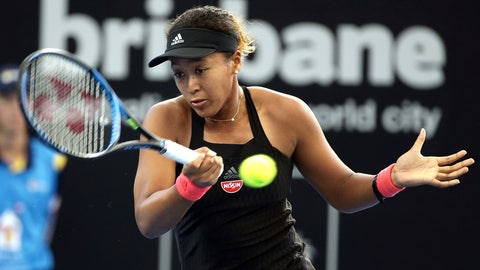<p>               Naomi Osaka of Japan plays a shot during her quarter final match against Anastasija Sevastova of Latvia at the Brisbane International tennis tournament in Brisbane, Australia, Thursday, Jan. 3, 2019. (AP Photo/Tertius Pickard)             </p>