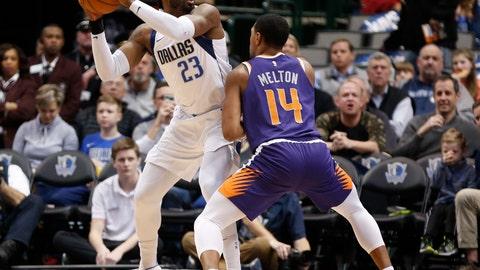<p>               Dallas Mavericks guard Wesley Matthews (23) looks to pass around Phoenix Suns guard De'Anthony Melton (14) during the first half of an NBA basketball game, Wednesday, Jan. 9, 2019, in Dallas. (AP Photo/Jim Cowsert)             </p>