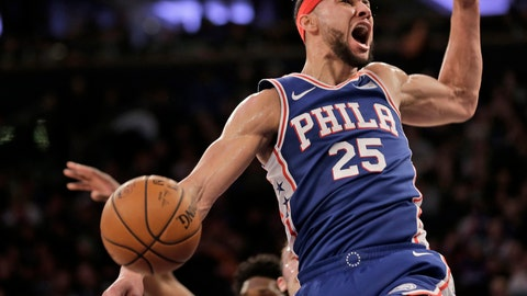 <p>               Philadelphia 76ers' Ben Simmons reacts after dunking during the first half of an NBA basketball game against the New York Knicks, Sunday, Jan. 13, 2019, in New York. (AP Photo/Seth Wenig)             </p>