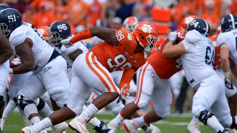 <p>               FILE - In this Sept. 15, 2018, file photo, Clemson's Clelin Ferrell (99) rushes into the backfield during the first half of the team's NCAA college football game against Georgia Southern in Clemson, S.C. Clemson's defensive line came into the season with a ton of hype after Christian Wilkins, Austin Bryant and Ferrell all bypassed the chance to go to the NFL after 2017. Ferrell, an explosive pass rusher, has the most NFL upside. (AP Photo/Richard Shiro, File)             </p>