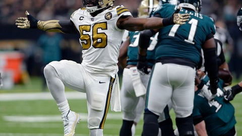 <p>               FILE - In this  Sunday, Nov. 18, 2018 file photo, New Orleans Saints outside linebacker Demario Davis (56) celebrates a defensive stop in the first half of an NFL football game against the Philadelphia Eagles in New Orleans. Saints linebacker Demario Davis is about to make his playoff debut after what he considers the most productive and professionally satisfying season of his career. Davis' 110 tackles led the Saints. His five sacks tied a career high. (AP Photo/Bill Feig, File)             </p>
