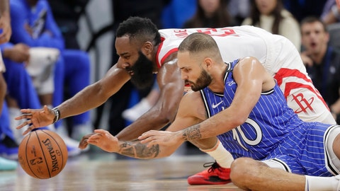 <p>               Houston Rockets' James Harden, left, and Orlando Magic's Evan Fournier (10) go after the ball during the second half of an NBA basketball game, Sunday, Jan. 13, 2019, in Orlando, Fla. (AP Photo/John Raoux)             </p>