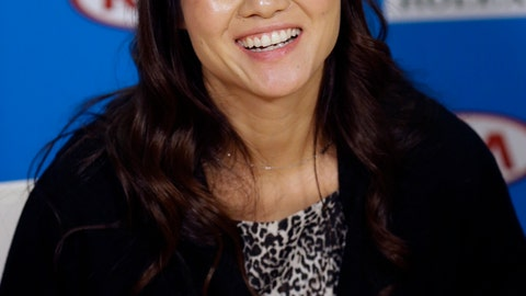 <p>               FILE- In this Jan. 20, 2015, file photo retired tennis championship Li Na of China, speaks at the Australian Open tennis championship in Melbourne, Australia.  Li Na is the first player from Asia elected to the International Tennis Hall of Fame. She joins Mary Pierce and Yevgeny Kafelnikov in the Class of 2019, which was announced Monday, Jan. 21, 2019, at the Australian Open. (AP Photo/Mark Baker, File)             </p>