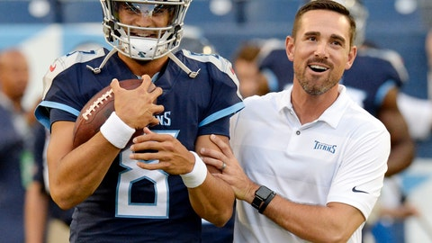 <p>               FILE - In this Aug. 30, 2018, file photo, Tennessee Titans quarterback Marcus Mariota (8) talks with offensive coordinator Matt LaFleur before a preseason NFL football game against the Minnesota Vikings in Nashville, Tenn. A person familiar with the decision says LaFleur has accepted Green Bay's offer to become the next head coach of the Packers. (AP Photo/Mark Zaleski, File)             </p>