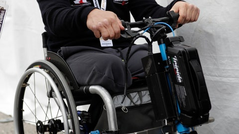 <p>               Alex Zanardi talks with visitors outside his pit stall during a practice session for the IMSA 24 hour race at Daytona International Speedway, Thursday, Jan. 24, 2019, in Daytona Beach, Fla. (AP Photo/John Raoux)             </p>