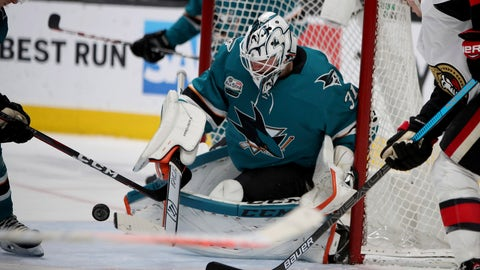 <p>               San Jose Sharks goaltender Martin Jones (31) blocks an Ottawa Senators shot during the second period of an NHL hockey game in San Jose, Calif., Saturday, Jan. 12, 2019. (AP Photo/Scot Tucker)             </p>