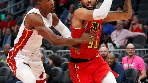 <p>               Atlanta Hawks forward DeAndre' Bembry (95) drives to the basket as Miami Heat guard Josh Richardson (0) defends during the first half of an NBA basketball game, Sunday, Jan. 6, 2019, in Atlanta. (AP Photo/John Bazemore)             </p>