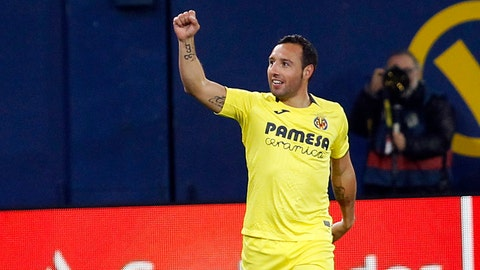 <p>               Villarreal's Santi Cazorla celebrates after scoring against Real Madrid during a Spanish La Liga soccer match at the Ceramica stadium in Villarreal, Spain, on Thursday, Jan. 3, 2019.(AP Photo/Alberto Saiz)             </p>