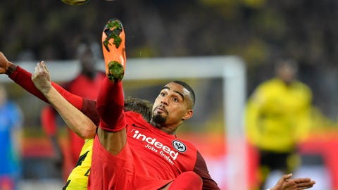 <p>               FILE - In this file photo dated Sunday, March 11, 2018, Frankfurt's Kevin-Prince Boateng jumps for the ball during the German Bundesliga soccer match between Borussia Dortmund and Eintracht Frankfurt in Dortmund, Germany.  Barcelona said Monday Jan. 21, 2019, it has signed midfielder Kevin-Prince Boateng on a loan from Italian club Sassuolo until the end of the season. (AP Photo/Martin Meissner, FILE)             </p>