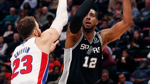 <p>               San Antonio Spurs forward LaMarcus Aldridge (12) shoots as Detroit Pistons forward Blake Griffin (23) defends during the first half of an NBA basketball game, Monday, Jan. 7, 2019, in Detroit. (AP Photo/Carlos Osorio)             </p>