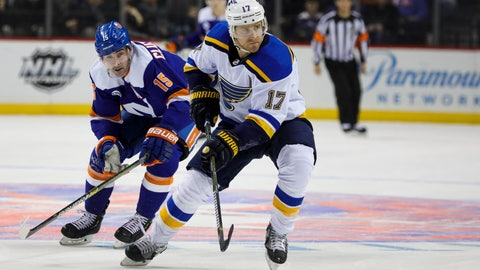 <p>               New York Islanders right wing Cal Clutterbuck (15) chases St. Louis Blues left wing Jaden Schwartz (17) during the second period of an NHL hockey game, Tuesday, Jan. 15, 2019, in New York. (AP Photo/Kevin Hagen)             </p>