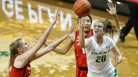 <p>               Oregon guard Sabrina Ionescu (20), shoots against Arizona defenders during an NCAA college basketball game Sunday, Jan. 20, 2019, in Eugene, Ore. Oregon beat Arizona 93-60. (AP photo/Thomas Boyd)             </p>