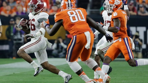 <p>               FILE - In this Jan. 11, 2016, file photo, Alabama's Marlon Humphrey catches an onside kick during the second half of the NCAA college football playoff championship game against Clemson, in Glendale, Ariz. When thinking of Alabama coach Nick Saban, a gambler or risk taker isn't the first thing that comes to mind. But when the time is right, the coach has stepped outside the box. In January 2016, Saban's fourth-quarter onside kick call propelled Alabama on to a 45-40 win over Clemson by not only setting up a touchdown drive but keeping Deshaun Watson & Co. off the field.  (AP Photo/David J. Phillip)             </p>