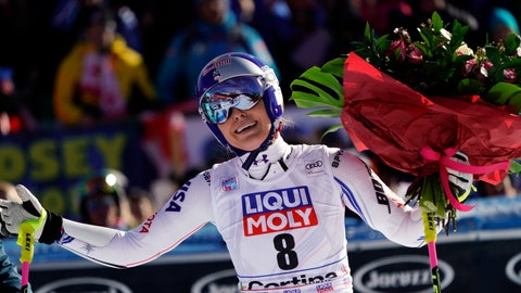 "<p>               FILE - In this Sunday, Jan. 20, 2019 filer, United States' Lindsey Vonn holds a bunch of flowers after completing an alpine ski, women's World Cup super-G in Cortina D'Ampezzo, Italy. It seemed like destiny played a role on Sunday when Mikaela Shiffrin won what could very well turn out to be Lindsey Vonn's last race. Vonn broke down emotionally after she failed to finish a World Cup super-G on knees so worn down that she describes them as ""bone on bone."" Shiffrin then came down nine racers later and won her first speed race at the premier stop on the women's circuit. (AP Photo/Giovanni Auletta, File )             </p>"