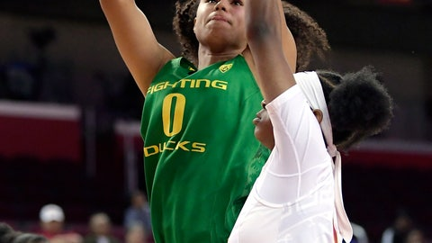 <p>               Oregon's Satou Sabally shoots as Southern California's Shalexxus Aaron defends during the first half of an NCAA college basketball game Friday, Jan. 11, 2019, in Los Angeles. (AP Photo/Mark J. Terrill)             </p>