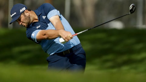 <p>               Jon Rahm, of Spain, hits from the fairway on the ninth hole during the first round of the Farmers Insurance Open golf tournament on the North Course at Torrey Pines Golf Course on Thursday, Jan. 24, 2019, in San Diego. (AP Photo/Chris Carlson)             </p>