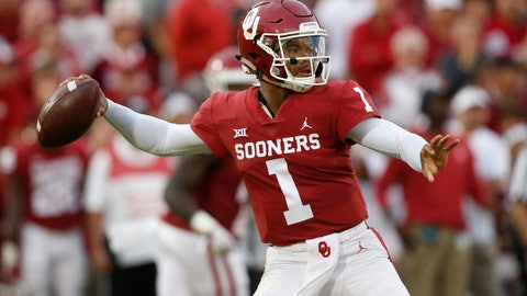 <p>               FILE - In this Sept. 22, 2018, file photo, Oklahoma quarterback Kyler Murray (1) throws in the first half of an NCAA college football game against Army, in Norman, Okla. Kyler Murray, the first-round Major League Baseball draft pick and Heisman Trophy-winning Oklahoma quarterback, says he is declaring himself eligible for the NFL draft. Murray announced his decision Monday, Jan. 14, 2019, in a tweet. (AP Photo/Sue Ogrocki, File)             </p>