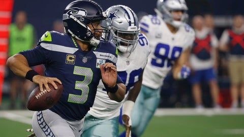 <p>               Seattle Seahawks quarterback Russell Wilson (3) runs out of the pocket against the Dallas Cowboys during the first half of the NFC wild-card NFL football game in Arlington, Texas, Saturday, Jan. 5, 2019. (AP Photo/Ron Jenkins)             </p>