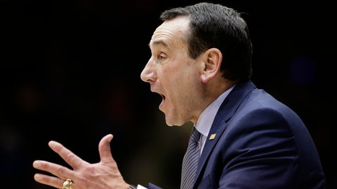 <p>               Duke head coach Mike Krzyzewski reacts during the second half of an NCAA college basketball game against Syracuse in Durham, N.C., Monday, Jan. 14, 2019. Syracuse won 95-91. (AP Photo/Gerry Broome)             </p>
