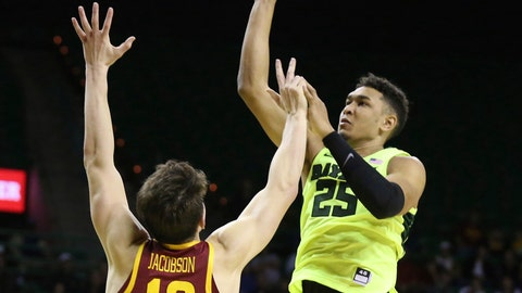 <p>               Baylor forward Tristan Clark (25) scores over Iowa State forward Michael Jacobson (12) during the second half of an NCAA college basketball game Tuesday, Jan. 8, 2019, in Waco, Texas. Baylor won 73-70. (AP Photo/Rod Aydelotte)             </p>