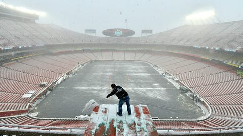 <p>               FILE - In this Jan. 12, 2019, file photo, Kyle Haraugh, of NFL Films, clears snow from a camera location at Arrowhead Stadium before an NFL divisional football playoff game between the Kansas City Chiefs and the Indianapolis Colts, in Kansas City, Mo.  The Chiefs began to lay new sod inside Arrowhead Stadium on Wednesday, Jan. 16, after much of the field was torn up in the divisional round. Heavy snow that began last Friday and stopped just before kickoff left parts of the field mushy, particularly between the hash marks and along the sidelines.  Those areas and the south end zone were getting fresh sod.  (AP Photo/Ed Zurga, File)             </p>