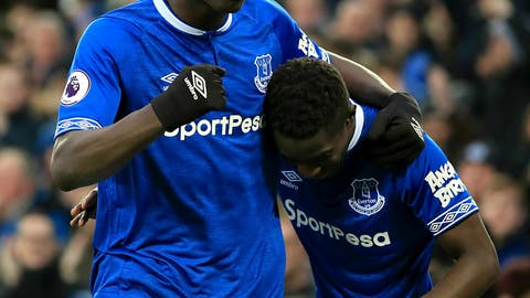 <p>               Everton's Kurt Zouma, left, celebrates scoring his side's first goal of the game with teammate Idrissa Gueye during their English Premier League soccer match against AFC Bournemouth at Goodison Park, Liverpool, England, Sunday, Jan. 13, 2019. (Peter Byrne/PA via AP)             </p>