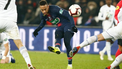 <p>               PSG's Neymar tries to score during the French Cup soccer match between Paris Saint Germain and Strasbourg at the Parc des Princes stadium in Paris, Wednesday, Jan. 23, 2019. (AP Photo/Michel Euler)             </p>