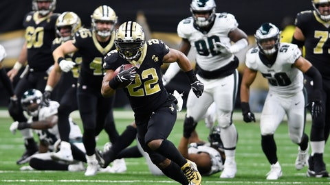 <p>               New Orleans Saints running back Mark Ingram (22) runs against the Philadelphia Eagles in the second half of an NFL divisional playoff football game in New Orleans, Sunday, Jan. 13, 2019. (AP Photo/Bill Feig)             </p>