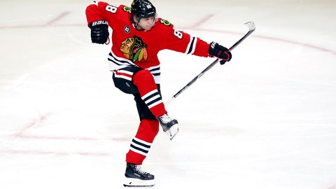 <p>               Chicago Blackhawks right wing Patrick Kane (88) celebrates after his goal against the Washington Capitals during the third period of an NHL hockey game Sunday, Jan. 20, 2019, in Chicago. (AP Photo Nuccio DiNuzzo)             </p>