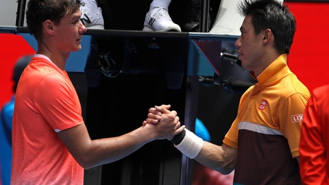 <p>               Poland's Kamil Majchrzak, left, congratulates Japan's Kei Nishikori after retiring injured in their first round match at the Australian Open tennis championships in Melbourne, Australia, Tuesday, Jan. 15, 2019. (AP Photo/Mark Schiefelbein)             </p>