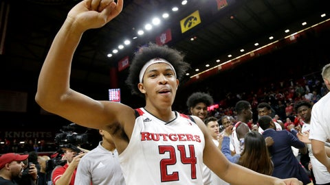 <p>               Rutgers forward Ron Harper Jr. celebrates after defeating Ohio State 64-61 during an NCAA college basketball game, Wednesday, Jan. 9, 2019, in Piscataway, N.J. (AP Photo/Julio Cortez)             </p>