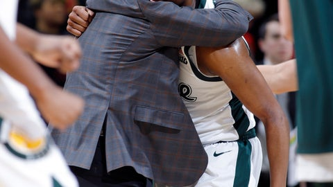 <p>               Michigan State coach Tom Izzo, left, hugs Cassius Winston during a timeout the second half of an NCAA college basketball game against Maryland, Monday, Jan. 21, 2019, in East Lansing, Mich. Michigan State won 69-55. (AP Photo/Al Goldis)             </p>