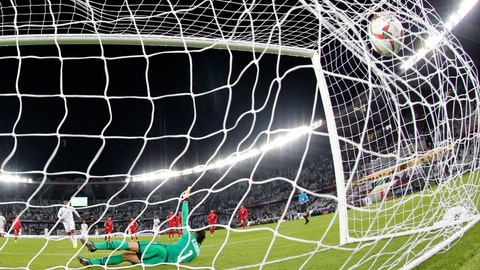 <p>               Bahrain's goalkeeper Said Ebrahim dives but fails to stop a penalty shot by United Arab Emirates' forward Ahmed Khalil during the AFC Asian Cup group A soccer match between the United Arab Emirates and Bahrain at Zayed Sport City in Abu Dhabi, United Arab Emirates, Saturday, Jan. 5, 2019. (AP Photo/Hassan Ammar)             </p>