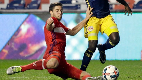 <p>               FILE - In this Wednesday, Oct. 25, 2017 file photo, Chicago Fire midfielder Matt Polster, left, goes for the ball with New York Red Bulls defender Kemar Lawrence during the second half of an MLS soccer playoff game, in Bridgeview, Ill. American defender Matt Polster has joined Scottish Premiership club Rangers after leaving the Chicago Fire of Major League Soccer. (AP Photo/Nam Y. Huh, File)             </p>