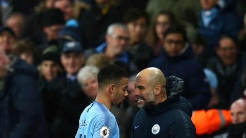 <p>               Manchester City's coach Pep Guardiola talks to his player Manchester City's Gabriel Jesus during the English Premier League soccer match between Manchester City and Wolverhampton Wanderers at the Etihad Stadium in Manchester, England, Monday, Jan. 14, 2019. (AP Photo/Dave Thompson)             </p>
