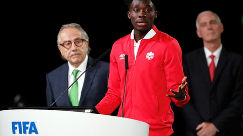 <p>               FILE - In this Wednesday, June 13, 2018 file photo, Alphonso Davies of Canada speaks at the FIFA congress on the eve of the opener of the 2018 soccer World Cup in Moscow. (AP Photo/Alexander Zemlianichenko, file)             </p>