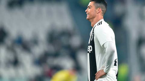 <p>               Juventus' Cristiano Ronaldo reacts during the match against AC Chievo Verona, during their Italian Serie A soccer match Juventus FC vs AC Chievo Verona at Allianz stadium in Turin, Italy, Monday Jan. 21, 2019. (Alessandro Di Marco/ANSA via AP)             </p>