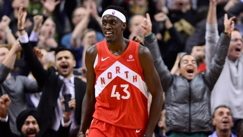 <p>               Toronto Raptors forward Pascal Siakam smiles after scoring against the Phoenix Suns during the second half of an NBA basketball game Thursday, Jan. 17, 2019, in Toronto. (Frank Gunn/The Canadian Press via AP)             </p>