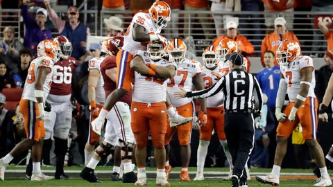 <p>               The Clemson defense celebrates after stopping Alabama during the second half of the NCAA college football playoff championship game, Monday, Jan. 7, 2019, in Santa Clara, Calif. (AP Photo/Chris Carlson)             </p>