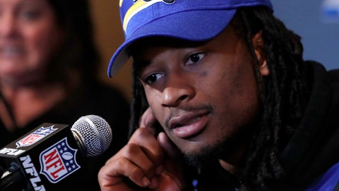 <p>               Los Angeles Rams running back Todd Gurley listens to question during a news conference Tuesday, Jan. 29, 2019, in Atlanta, ahead of the NFL Super Bowl 53 football game  (AP Photo/John Bazemore)             </p>