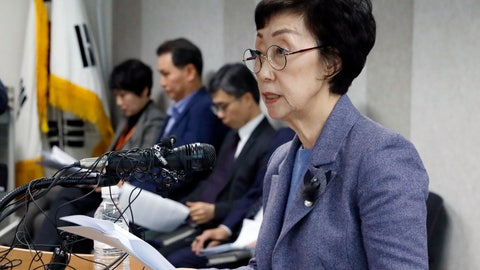 <p>               In this Tuesday, Jan. 22, 2019, photo, Choi Young-ae, head of the National Human Rights Commission, speaks on human rights conditions in sports circles during a press conference in Seoul, South Korea. South Korea's human rights commission plans to interview possibly thousands of athletes about a culture of abuse in sports after a wave of female athletes came forward to say they had been raped or assaulted by their coaches. (Choe Dong-jun/Newsis via AP)             </p>