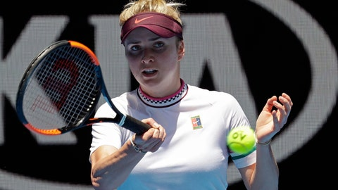<p>               Ukraine's Elina Svitolina makes a forehand return to United States' Madison Keys during their fourth round match at the Australian Open tennis championships in Melbourne, Australia, Monday, Jan. 21, 2019. (AP Photo/Aaron Favila)             </p>
