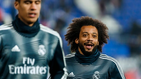 <p>               Real Madrid's Marcelo warms up prior of a Spanish Copa del Rey soccer match between Leganes and Real Madrid at the Butarque stadium in Leganes, Spain, Wednesday, Jan. 16, 2019. (AP Photo/Valentina Angela)             </p>