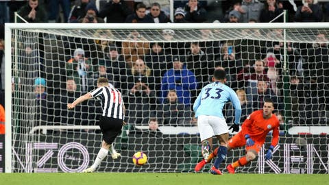 <p>               Newcastle United's Matt Ritchie scores during a English Premier League soccer match against Manchester City at St James' Park in Newcastle, England, Tuesday Jan. 29, 2019. (Richard Sellers/PA via AP)             </p>