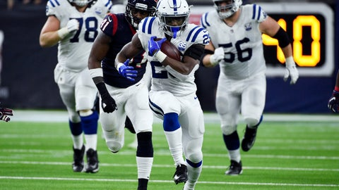 <p>               Indianapolis Colts running back Marlon Mack (25) runs against the Houston Texans during the second half of an NFL wild card playoff football game, Saturday, Jan. 5, 2019, in Houston. (AP Photo/Eric Christian Smith)             </p>