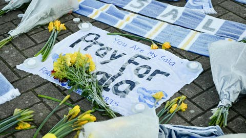 <p>               Flowers and tributes are placed outside Cardiff City Football Club, Wales, Wednesday Jan. 23, 2019, after a plane with new signing Emiliano Sala on board went missing over the English Channel on Monday night. The search resumed Wednesday to find missing Emiliano Sala and his pilot with authorities in the Channel Islands prioritizing whether they have been unable to make contact after more than 36 hours having managed to land, been picked up by a ship or are still on a lifeboat. (Ben Birchall/PA via AP)             </p>