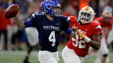 <p>               West quarterback Brett Rypien (4), of Boise State, throws a pass as he is pressured by East defensive lineman Kyle Lawrence Phillips (92), of Tennessee, during the first half of the East West Shrine college football game Saturday, Jan. 19, 2019, in St. Petersburg, Fla. (AP Photo/Chris O'Meara)             </p>