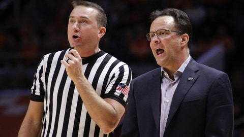 """<p>               FILE - In this Jan. 5, 2019, file photo, Georgia head coach Tom Crean speaks with an official in the second half of an NCAA college basketball game against Tennessee, in Knoxville, Tenn. Crean received a jolting welcome to the SEC in Georgia's 90-56 loss at No. 3 Tennessee, reminding the first-year coach his team has """"a long way"""" to go entering Wednesday night's game against Vanderbilt.  (AP Photo/Shawn Millsaps, File)             </p>"""