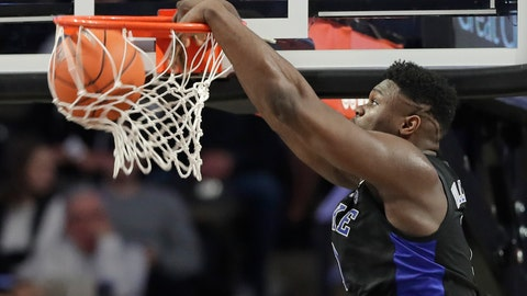 <p>               Duke's Zion Williamson dunks against Wake Forest during the first half of an NCAA college basketball game in Winston-Salem, N.C., Tuesday, Jan. 8, 2019. (AP Photo/Chuck Burton)             </p>
